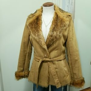 Halston Faux Shearling Suede & Fur Belted Coat S